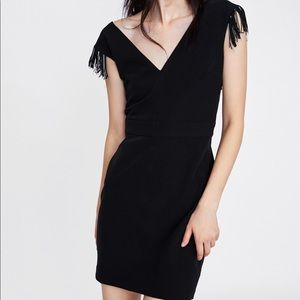 NWOT ZARA Black Fringed Pencil Dress